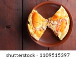 homemade pizza on a clay plate  ... | Shutterstock . vector #1109515397