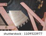 a sharp sharp saw for wood. | Shutterstock . vector #1109523977