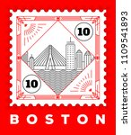 boston city line style postage... | Shutterstock .eps vector #1109541893