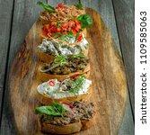 bruschetta and antipasti... | Shutterstock . vector #1109585063