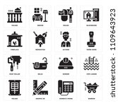 set of 16 icons such as barrow  ...