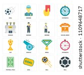 set of 16 icons such as ball ...