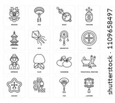 set of 16 icons such as lantern ... | Shutterstock .eps vector #1109658497