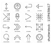set of 16 icons such as down... | Shutterstock .eps vector #1109658617