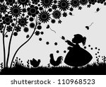 girl with butterflies in the... | Shutterstock .eps vector #110968523
