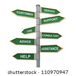 3d illustration of words sign post related to concept of customer support and help - stock photo