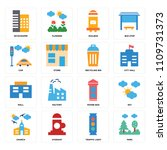 set of 16 icons such as park ...