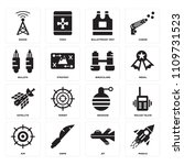set of 16 icons such as missile ...