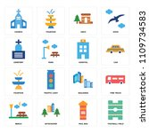 set of 16 icons such as... | Shutterstock .eps vector #1109734583