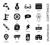 set of 16 icons such as city...