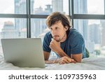 young man is working on a... | Shutterstock . vector #1109735963
