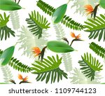 seamless tropical leaf... | Shutterstock .eps vector #1109744123