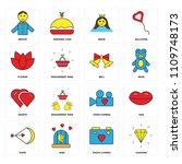set of 16 icons such as diamond ...