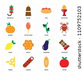 set of 16 icons such as tomato  ...
