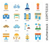 set of 16 icons such as store ...