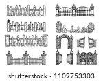 set of halloween fence.fence...   Shutterstock .eps vector #1109753303