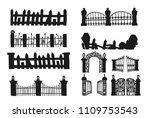 set of halloween fence.fence...   Shutterstock .eps vector #1109753543