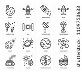 set of 16 icons such as moon...
