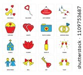 set of 16 icons such as toast ...