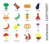 set of 16 icons such as nachos  ...