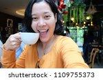 selfie asian woman  drinking...   Shutterstock . vector #1109755373