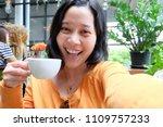 selfie asian woman  drinking...   Shutterstock . vector #1109757233