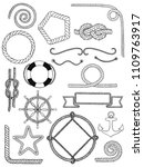 vector nautical pack icon set.... | Shutterstock .eps vector #1109763917