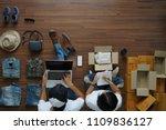 women and men selling online... | Shutterstock . vector #1109836127