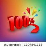 one hundred percent 3d style....   Shutterstock .eps vector #1109841113