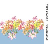 flowers border with lily... | Shutterstock . vector #1109851367