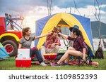 travel group of asian friends... | Shutterstock . vector #1109852393