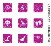 gym facility icons set. grunge...   Shutterstock .eps vector #1109868917