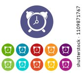 alarm clock icons color set...