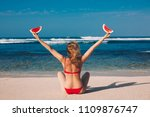 young woman in red bikini with... | Shutterstock . vector #1109876747