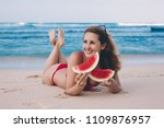 young woman in red bikini with... | Shutterstock . vector #1109876957