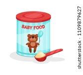 metal jar of milk powder and...   Shutterstock .eps vector #1109879627