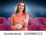 cheerful brunette woman... | Shutterstock . vector #1109880113