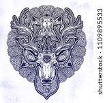 ornate deer head with beautiful ... | Shutterstock .eps vector #1109895533