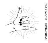 hand drawn female hand in shaka ... | Shutterstock .eps vector #1109916143