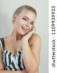 portrait of positive blonde...   Shutterstock . vector #1109939933