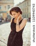 adorable cheerful model wearing ...   Shutterstock . vector #1109940743