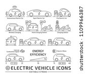 electric car line icon set.... | Shutterstock .eps vector #1109966387