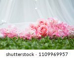 Stock photo wedding decoration flower fabric pink rose 1109969957