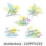 set of summer emblems with... | Shutterstock .eps vector #1109971313