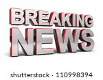 3D illustration of a breaking news TV screen over white - stock photo
