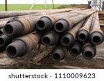 drilling pipe. rusty drill... | Shutterstock . vector #1110009623