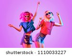 dj girl with pink blond fashion ...   Shutterstock . vector #1110033227