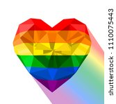 gay pride flag. heart shaped... | Shutterstock .eps vector #1110075443