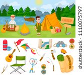 camping children summer camp... | Shutterstock .eps vector #1110075797