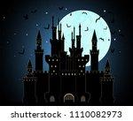 vector halloween background... | Shutterstock .eps vector #1110082973